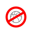 stop basketball prohibited team game red vector image vector image