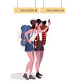 two traveling girls with hats and a backpack vector image