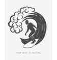 Vintage logo Men surfing on big wave Surfboard