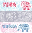 vintage set banners with ethnic elephants vector image vector image