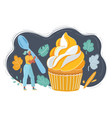 woman admiring a fancy dessert cupcake and going vector image vector image