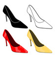 women single shoe web icons and colored 3d vector image