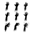 zombie grunge hands silhouettes vector image