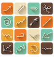 set of square flat icons with long shadow vector image