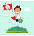 Businessman on top of mountainbusiness success vector image
