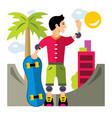 skateboarding flat style colorful cartoon vector image