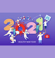 2021 new year design card with doctor team vector image vector image