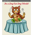 A cat eating a dog vector image
