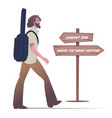 bearded young man walking carrying a guitar to vector image vector image