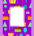 birthday card template anniversary place for vector image