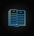 book outline blue icon - open book concept vector image vector image