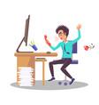 businessman shouts at phone vector image