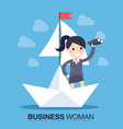 businesswoman in a boat vector image vector image