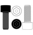 cap hex socket bolt black and white outline icons vector image