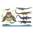 cartoon green crocodile danger predator and vector image vector image