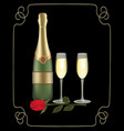 champagne bottle with two glasses and rose on dark vector image vector image