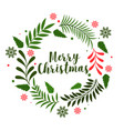 christmas leaves frame decoration background vector image