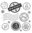 christmas stamp set isolated on white vector image