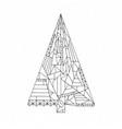 christmas tree coloring page hand drawn abstract vector image vector image