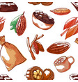 cocoa beans hand drawn seamless pattern vector image