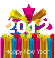 colorful 2012 new year over explosion stars vector image