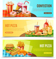 Fast Food Horizontal Banners Set vector image vector image