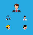 flat icon hotline set of operator earphone help vector image vector image