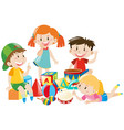 four kids playing with toys vector image vector image
