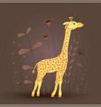 gift postcard with cartoon animal giraffe vector image