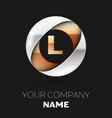 golden letter l logo symbol in the circle shape vector image