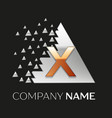 golden letter x logo in silver pixel triangle vector image