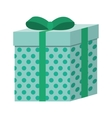 green square gift box present ribbon dots vector image vector image