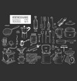 hand drawn set different kitchenware on chalk vector image