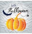 Happy Halloween greeting card with pumpkin vector image vector image