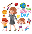 happy teachers day logo with teacher and students vector image vector image