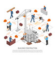 isometric building construction flowchart vector image vector image
