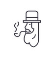 leprechaun with smoke pipe line icon sign vector image