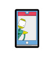 line color smartphone technology with robot vector image vector image