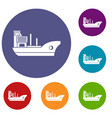 marine ship icons set vector image vector image