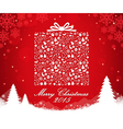 Merry Christmas gift box shape vector image vector image