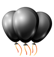 Realistic black balloons with ribbon isolated on vector image