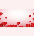 red paper elements in shape a heart flying vector image vector image