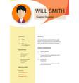 resume template cv creative background ima vector image vector image