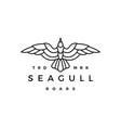 seagull line outline monoline roar flat flying vector image