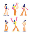 set female characters in casual and formal vector image