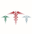 set of abstract caduceus vector image vector image