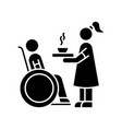 special needs black glyph icon social worker help vector image