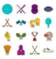 sport equipment icons doodle set vector image