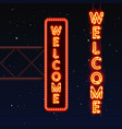 street sign that says welcome vector image vector image