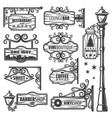 vintage street lanterns labels set vector image